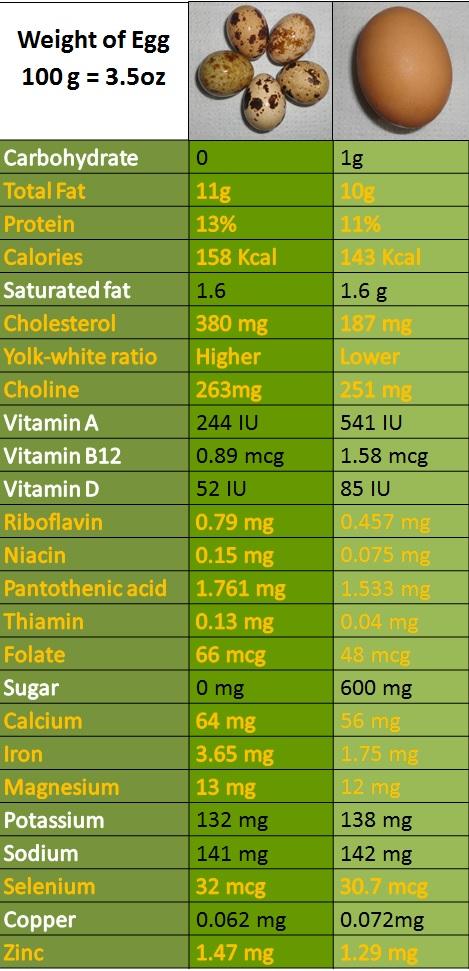 nutrients in quail